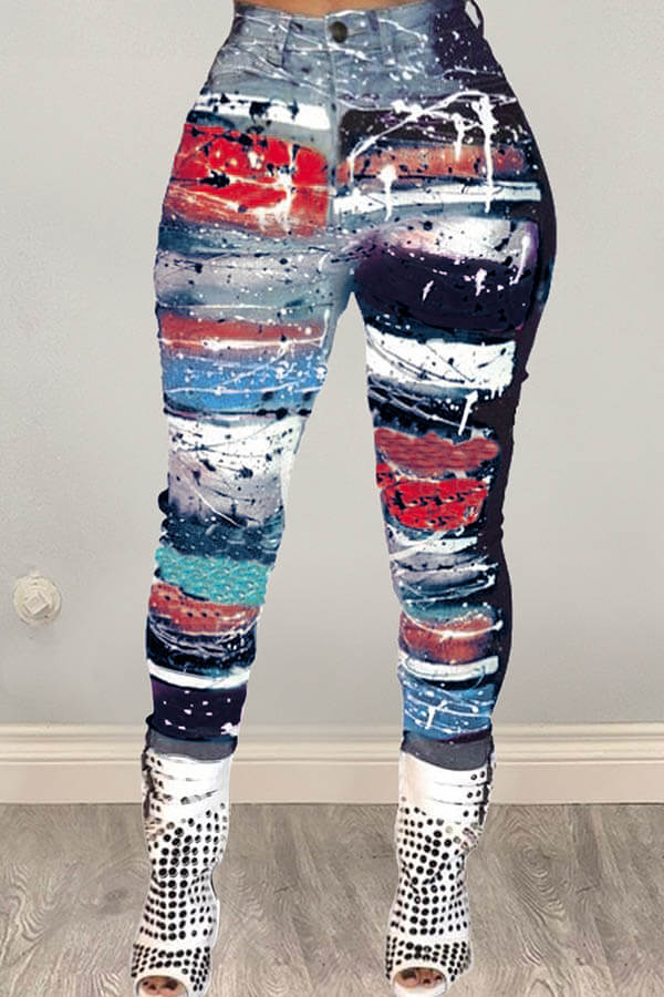 Lovely Trendy Printed Blue Pants