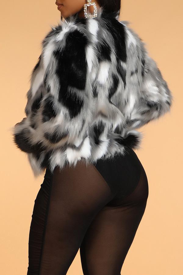 Lovely Trendy Patchwork White Short Coat