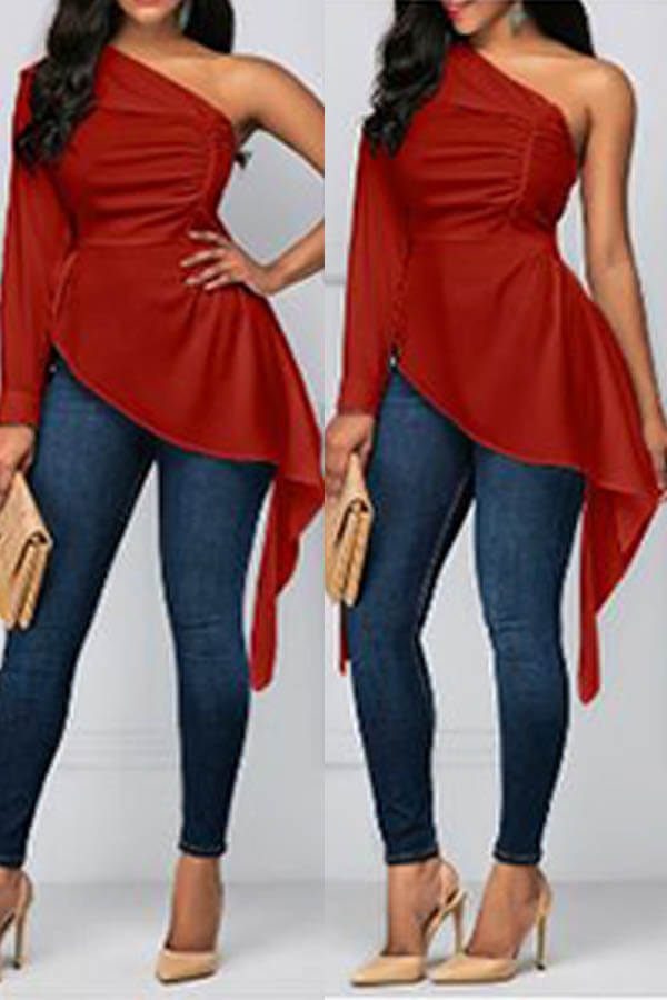 Lovely Chic One Shoulder Red Blouse