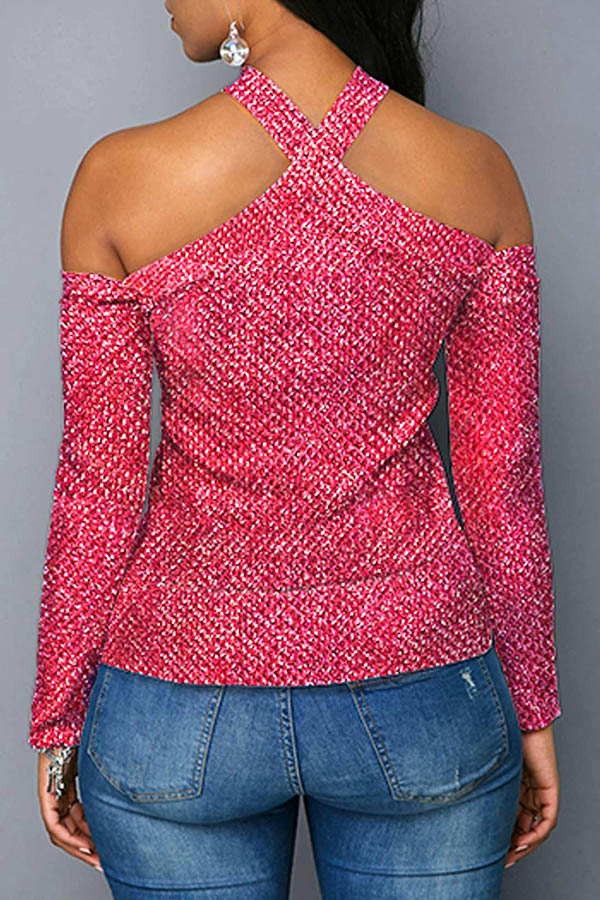 Lovely Leisure Hollow-out Pink Blouse