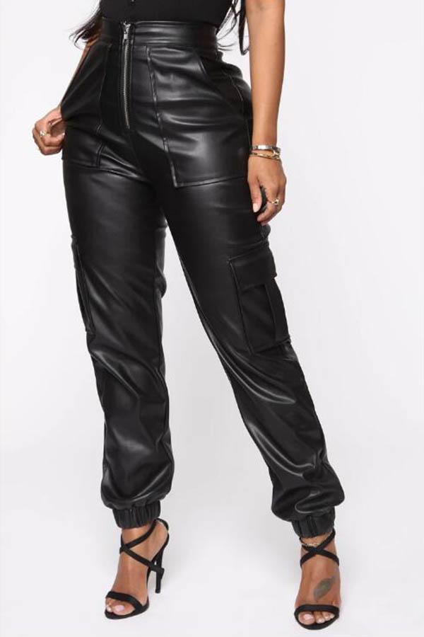 Lovely Trendy Zipper Design Black Pants