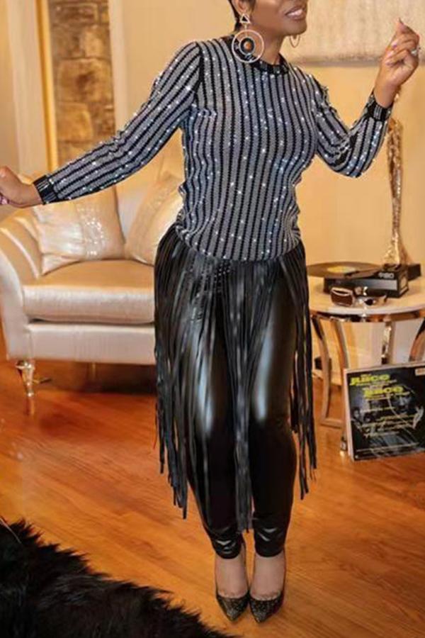 Lovely Casual Tassel Design Black Blouse