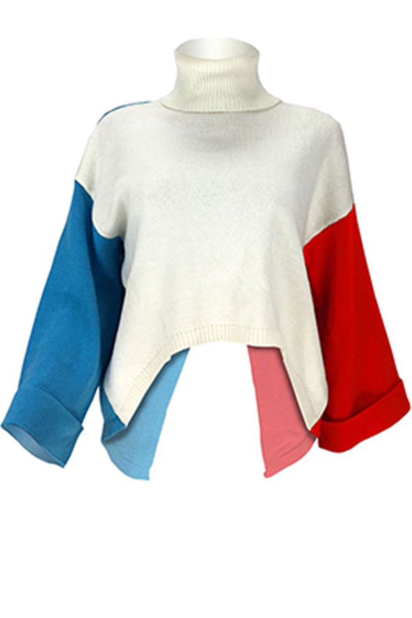 Lovely Casual Turtleneck Patchwork Multicolor Sweater