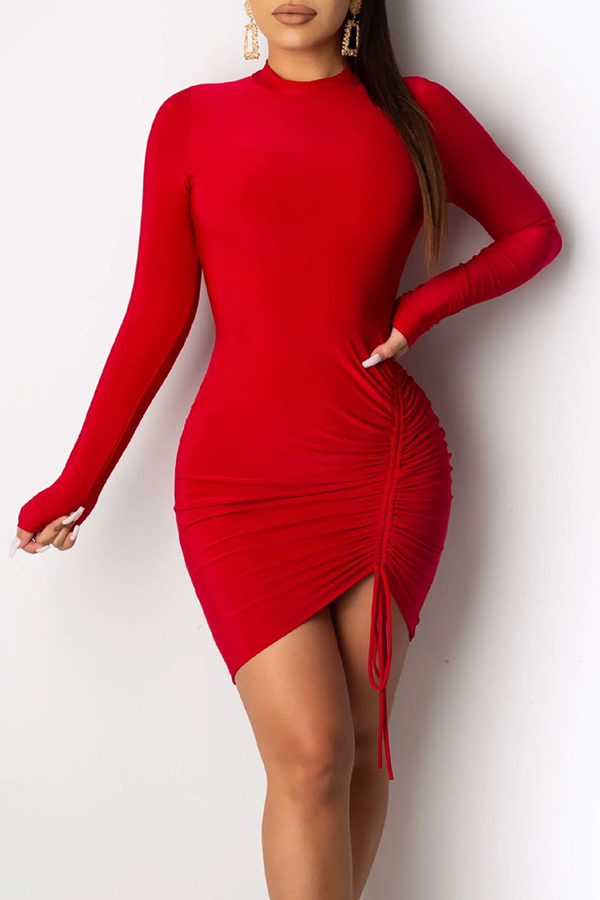 Lovely Trendy O Neck Drawstring Red Mini Dress