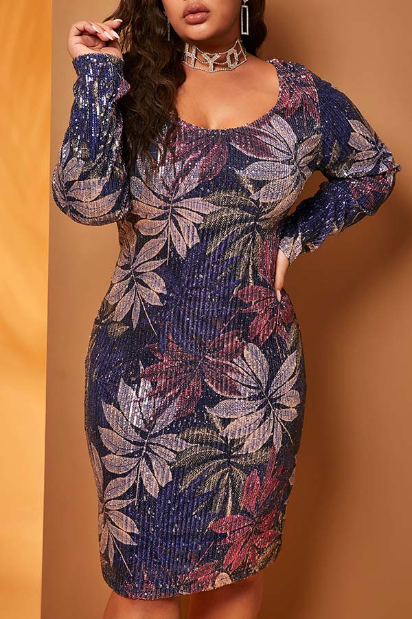 Lovely Casual Print Blue Knee Length Plus Size Dress