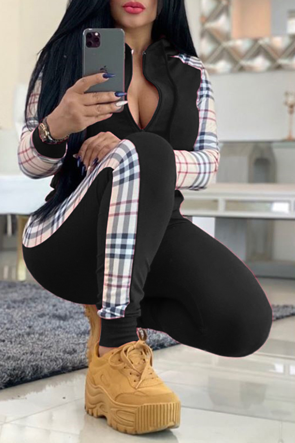 Lovely Casual Plaid Patchwork Black Two-piece Pants Set