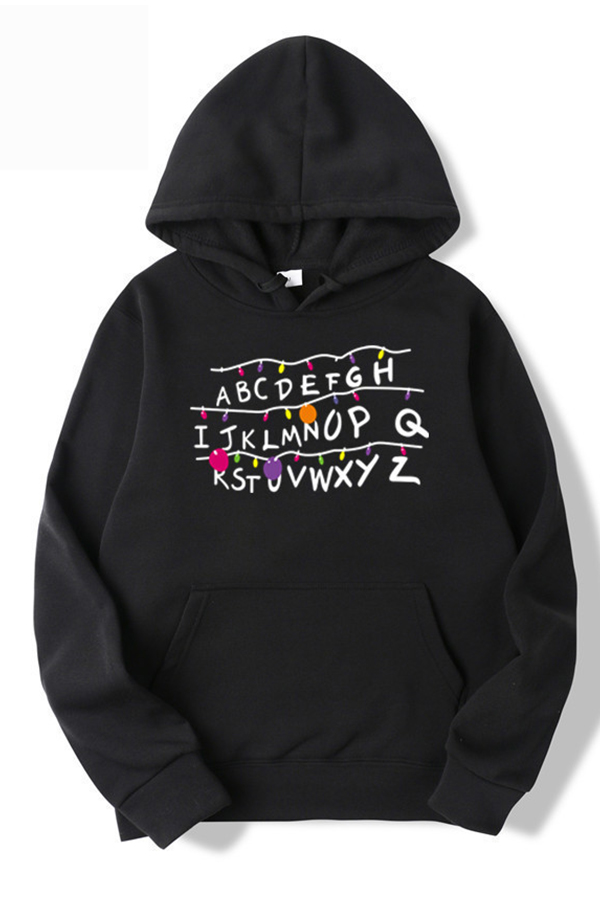 Lovely Casual Hooded Collar Letter Print Black Hoodie