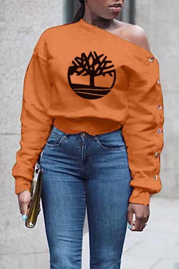 Lovely Casual Print Orange Sweatshirt Hoodie