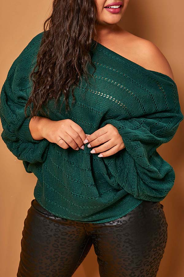 Lovely Chic Hollow-out Blackish Green Plus Size Sweater