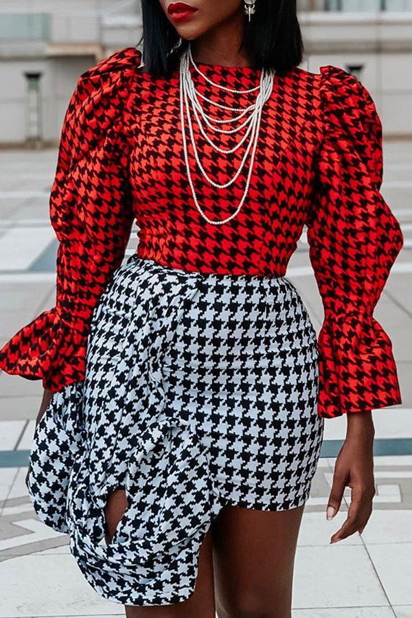 Lovely Chic Plaid Print Black And White Two-piece Skirt Set