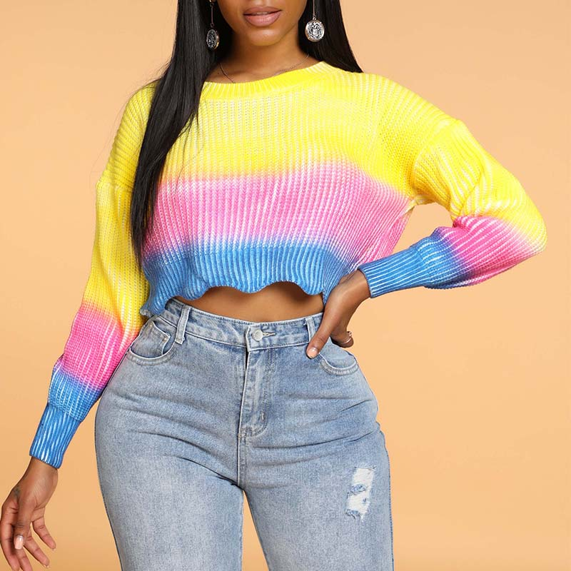 Lovely Casual Rainbow Multicolor Sweater