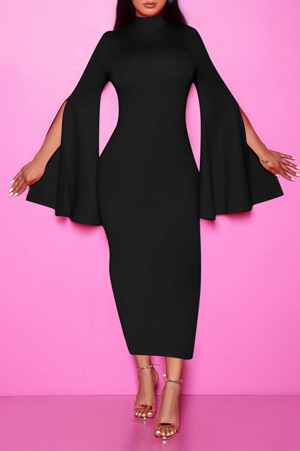 Lovely Chic Turtleneck Black Ankle Length Dress