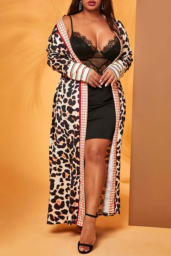 Lovely Casual Leopard Plus Size Cardigan