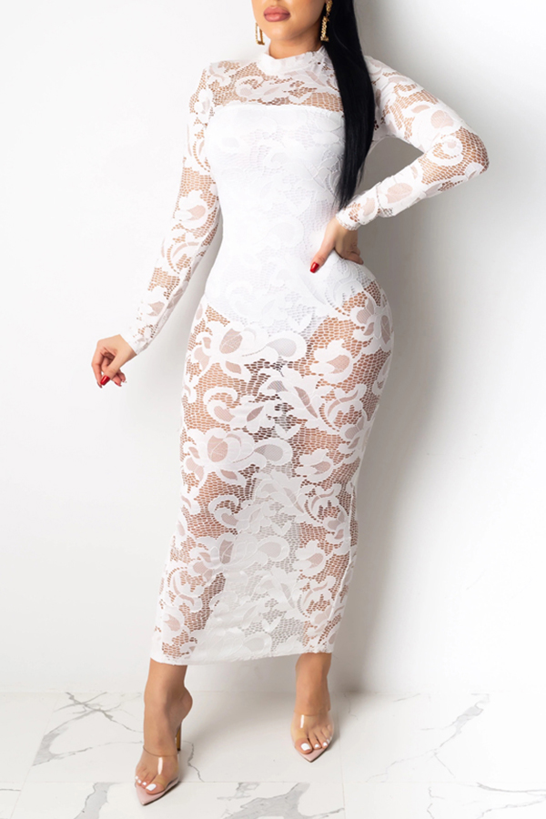 Lovely Party Lace Patchwork White Ankle Length Dress