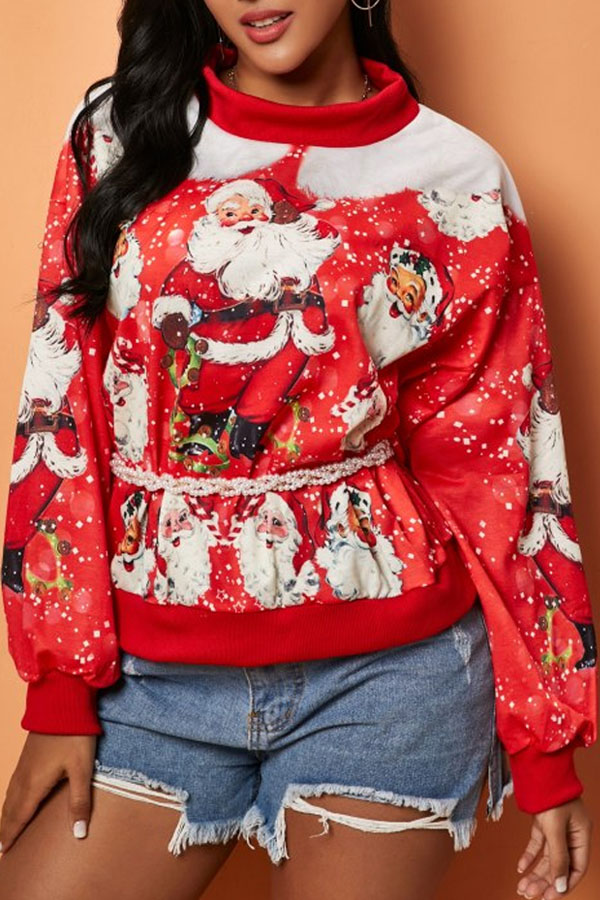 Lovely Casual Print Red Hoodie