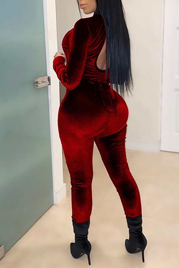 Lovely Sexy Patchwork Wine Red One-piece Jumpsuit