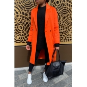 Lovely Trendy Buttons Design Orange Red Coat