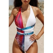 Lovely Lace-up Patchwork Rose Red One-piece Swimsuit