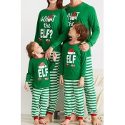 Lovely Family Striped Green Mother Two-piece Pants