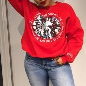 Lovely Casual Print Red Sweatshirt Hoodie