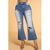 Lovely Casual Hollow-out Dark Blue Jeans