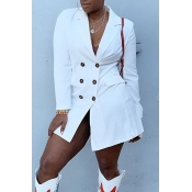Lovely Casual Turndown Collar Buttons White Mini D