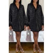 Lovely Casual Striped Black Knee Length Dress