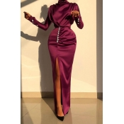 Lovely Party Turtleneck Slit Wine Red Prom Dress