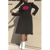 Lovely Sweet Lip Print Black Knee Length Dress