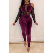 Lovely Sexy See-through Purple One-piece Jumpsuit