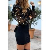 Lovely Sweet Dot Patchwork Black  Mini Dress