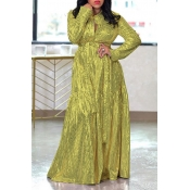 Lovely Casual Print Green Maxi Dress