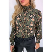 Lovely Leisure Turtleneck Floral Print Green Blous