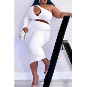 Lovely Casual Hollow-out White Plus Size Two-piece