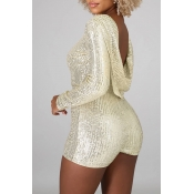 Lovely Casual Skinny Silver One-piece Romper