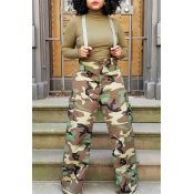 Lovely Casual Print Camo Army Green One-piece Jump