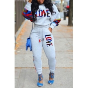 Lovely Casual Letter Grey Two-piece Pants Set