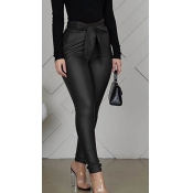 Lovely Trendy Drawstring Black Pants