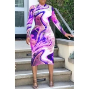 Lovely Casual Print Skinny Purple Mid Calf Dress(Without Belt)