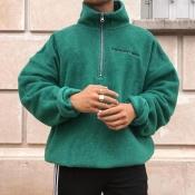 Lovely Casual Mandarin Collar Zipper Design Green