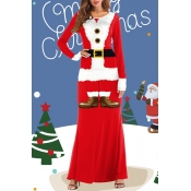 Lovely Christmas Day Patchwork Red Maxi Dress