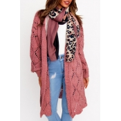 Lovely Casual Hollow-out Pink Cardigan