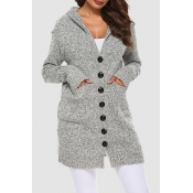 Lovely Casual Hooded Collar Buttons Light Grey Car