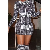 Lovely Trendy Print Black And White Mini Dress