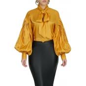 Lovely Casual Mandarin Collar Yellow Blouse