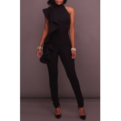 Lovely Casual One Shoulder Black One-piece Jumpsui