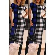 Lovely Chic O Neck Plaid Print Blue Mid Calf Dress