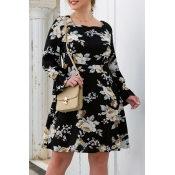 Lovely Casual Print Black Knee Length Plus Size Dr