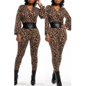 Lovely Casual Leopard One-piece Jumpsuit