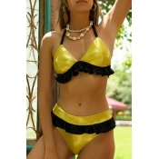Lovely Flounce Yellow Two-piece Swimsuit